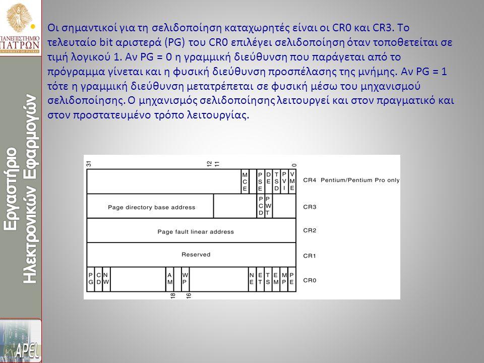 Οι σημαντικοί για τη σελιδοποίηση καταχωρητές είναι οι CR0 και CR3. Το τελευταίο bit αριστερά (PG) του CR0 επιλέγει σελιδοποίηση όταν τοποθετείται σε