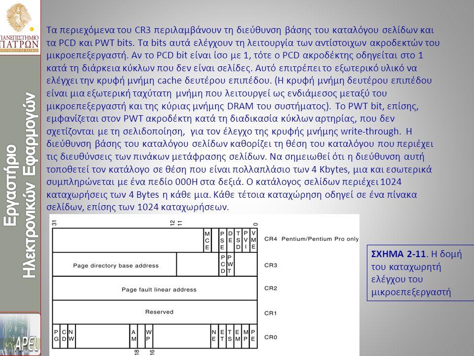 Τα περιεχόμενα του CR3 περιλαμβάνουν τη διεύθυνση βάσης του καταλόγου σελίδων και τα PCD και PWT bits.