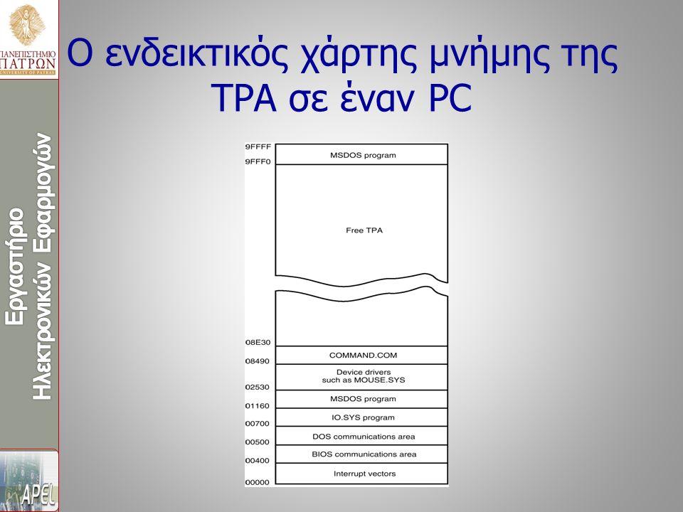 Ο ενδεικτικός χάρτης μνήμης της TPA σε έναν PC
