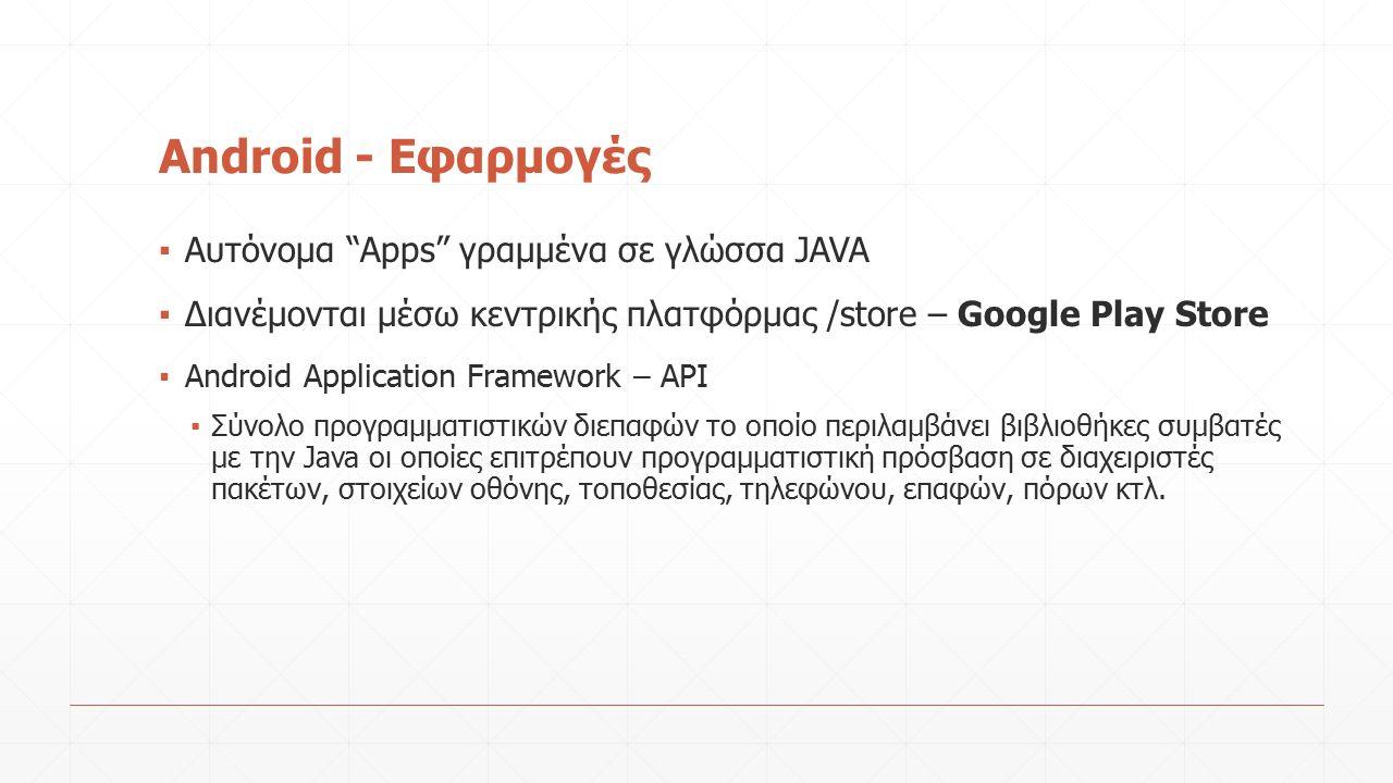 Android - Εφαρμογές ▪ Αυτόνομα Apps γραμμένα σε γλώσσα JAVA ▪ Διανέμονται μέσω κεντρικής πλατφόρμας /store – Google Play Store ▪ Android Application Framework – API ▪ Σύνολο προγραμματιστικών διεπαφών το οποίο περιλαμβάνει βιβλιοθήκες συμβατές με την Java οι οποίες επιτρέπουν προγραμματιστική πρόσβαση σε διαχειριστές πακέτων, στοιχείων οθόνης, τοποθεσίας, τηλεφώνου, επαφών, πόρων κτλ.