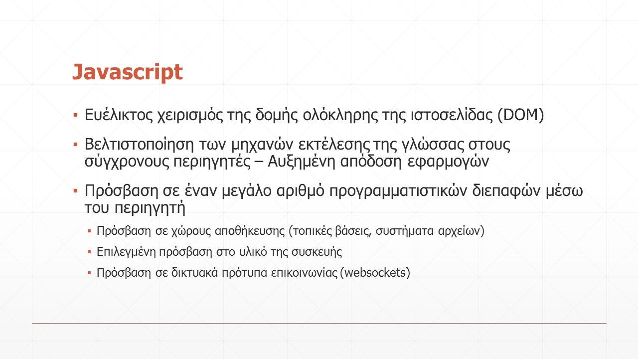 Javascript ▪ Ευέλικτος χειρισμός της δομής ολόκληρης της ιστοσελίδας (DOM) ▪ Βελτιστοποίηση των μηχανών εκτέλεσης της γλώσσας στους σύγχρονους περιηγητές – Αυξημένη απόδοση εφαρμογών ▪ Πρόσβαση σε έναν μεγάλο αριθμό προγραμματιστικών διεπαφών μέσω του περιηγητή ▪ Πρόσβαση σε χώρους αποθήκευσης (τοπικές βάσεις, συστήματα αρχείων) ▪ Επιλεγμένη πρόσβαση στο υλικό της συσκευής ▪ Πρόσβαση σε δικτυακά πρότυπα επικοινωνίας (websockets)
