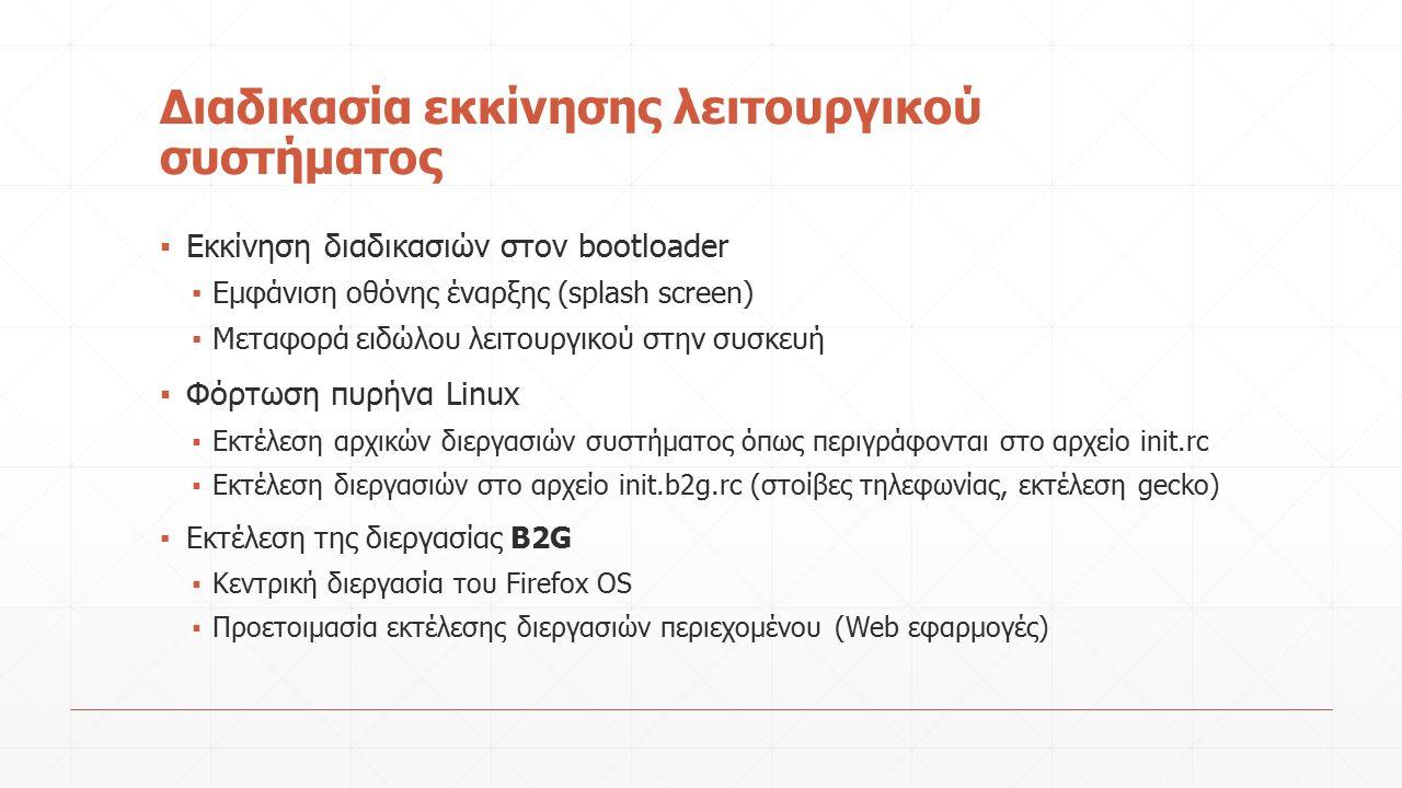 Διαδικασία εκκίνησης λειτουργικού συστήματος ▪ Εκκίνηση διαδικασιών στον bootloader ▪ Εμφάνιση οθόνης έναρξης (splash screen) ▪ Μεταφορά ειδώλου λειτουργικού στην συσκευή ▪ Φόρτωση πυρήνα Linux ▪ Εκτέλεση αρχικών διεργασιών συστήματος όπως περιγράφονται στο αρχείο init.rc ▪ Εκτέλεση διεργασιών στο αρχείο init.b2g.rc (στοίβες τηλεφωνίας, εκτέλεση gecko) ▪ Εκτέλεση της διεργασίας B2G ▪ Κεντρική διεργασία του Firefox OS ▪ Προετοιμασία εκτέλεσης διεργασιών περιεχομένου (Web εφαρμογές)