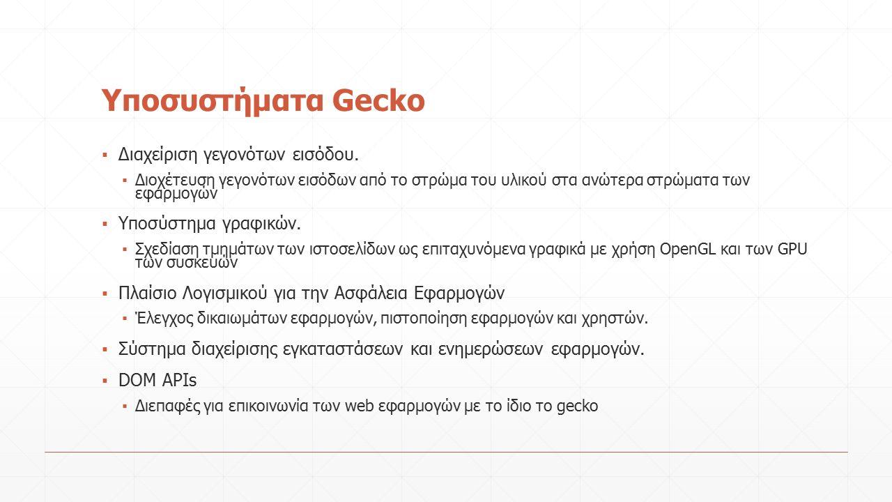 Yποσυστήματα Gecko ▪ Διαχείριση γεγονότων εισόδου.