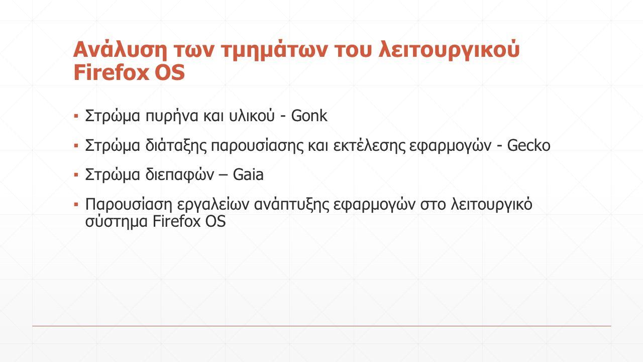 Ανάλυση των τμημάτων του λειτουργικού Firefox OS ▪ Στρώμα πυρήνα και υλικού - Gonk ▪ Στρώμα διάταξης παρουσίασης και εκτέλεσης εφαρμογών - Gecko ▪ Στρώμα διεπαφών – Gaia ▪ Παρουσίαση εργαλείων ανάπτυξης εφαρμογών στο λειτουργικό σύστημα Firefox OS