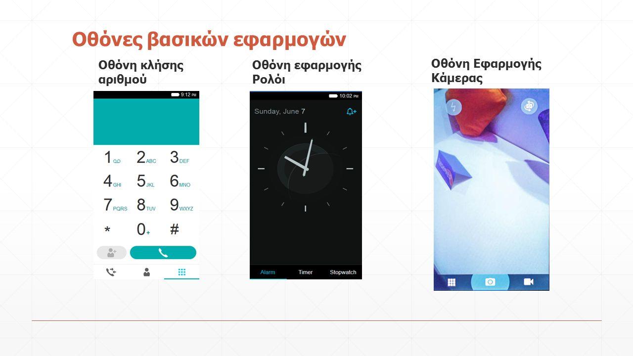 Οθόνες βασικών εφαρμογών Οθόνη κλήσης αριθμού Οθόνη εφαρμογής Ρολόι Οθόνη Εφαρμογής Κάμερας