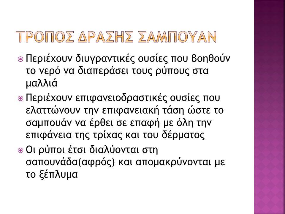  ΣΥΝΘΕΤΙΚΑ ΑΠΟΡΡΥΠΑΝΤΙΚΑ-ΚΑΘΑΡΙΣΤΙΚΑ όπως φωσφορικά ή σουλφονικά άλατα  ΑΝΤΙΣΗΠΤΙΚΑ Όπως θειούχο σελήνιο,εξαχλωροφαίνιο  ΣΥΝΤΗΡΗΤΙΚΑ Όπως βενζο'ι'κό νάτριο  ΕΠΙΦΑΝΕΙΟΔΡΑΣΤΙΚΕΣ ΟΥΣΙΕΣ Όπως σορβιτόλη,  ΧΡΩΣΤΙΚΕΣ ΚΑΙ ΑΡΩΜΑΤΑ