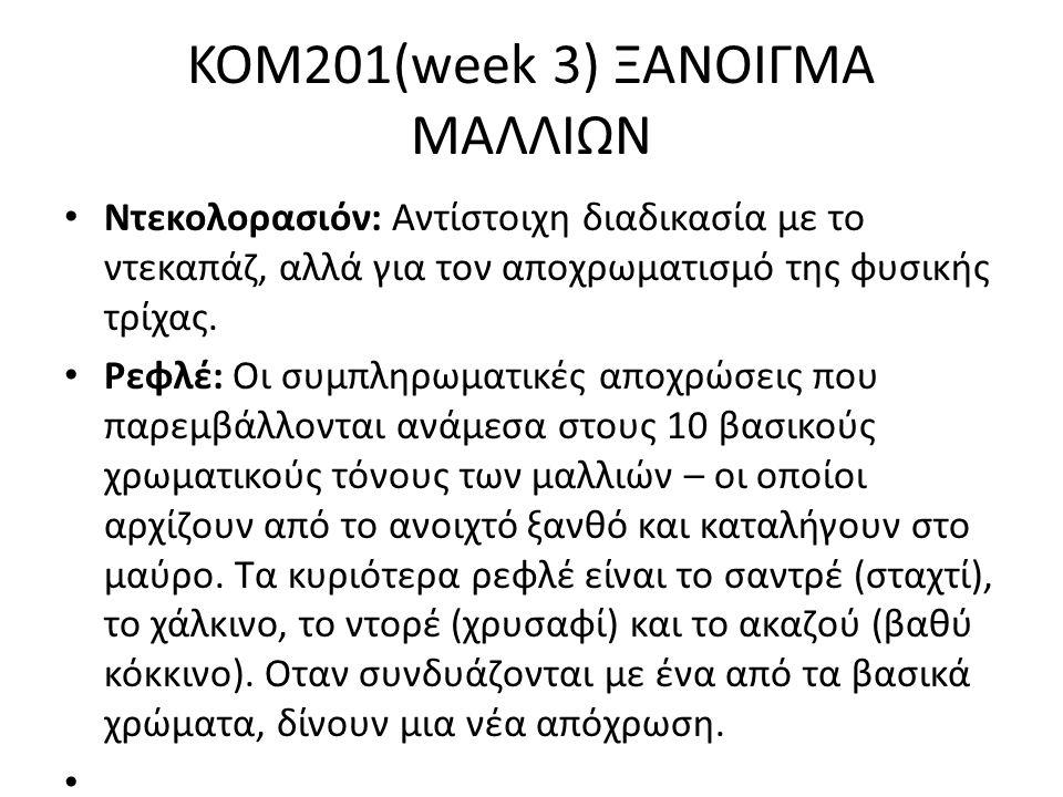 KOM201(week 3) ΞΑΝΟΙΓΜΑ ΜΑΛΛΙΩΝ Ντεκολορασιόν: Αντίστοιχη διαδικασία με το ντεκαπάζ, αλλά για τον αποχρωματισμό της φυσικής τρίχας. Ρεφλέ: Οι συμπληρω