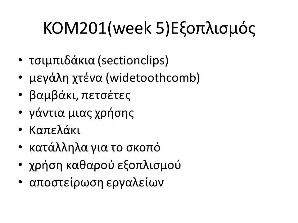 KOM201(week 5)Εξοπλισμός τσιμπιδάκια (sectionclips) μεγάλη χτένα (widetoothcomb) βαμβάκι, πετσέτες γάντια μιας χρήσης Καπελάκι κατάλληλα για το σκοπό