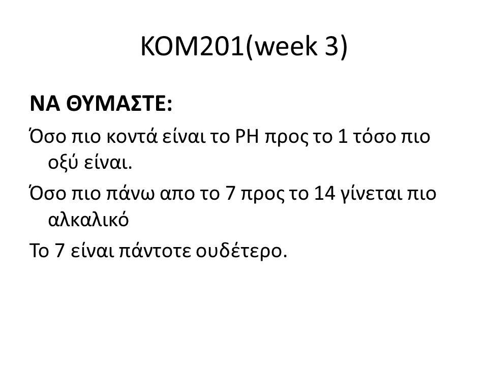 KOM201(week 3) ΝΑ ΘΥΜΑΣΤΕ: Όσο πιο κοντά είναι το ΡΗ προς το 1 τόσο πιο οξύ είναι. Όσο πιο πάνω απο το 7 προς το 14 γίνεται πιο αλκαλικό Το 7 είναι πά
