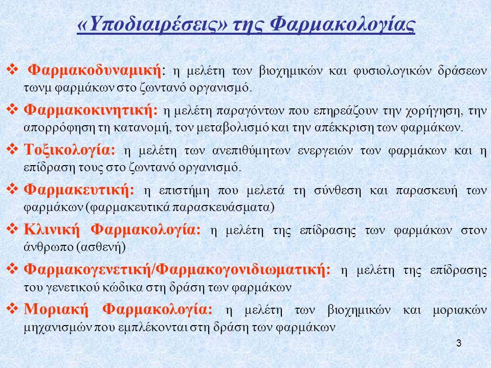 3 «Υποδιαιρέσεις» της Φαρμακολογίας  Φαρμακοδυναμική: η μελέτη των βιοχημικών και φυσιολογικών δράσεων τωνμ φαρμάκων στο ζωντανό οργανισμό.