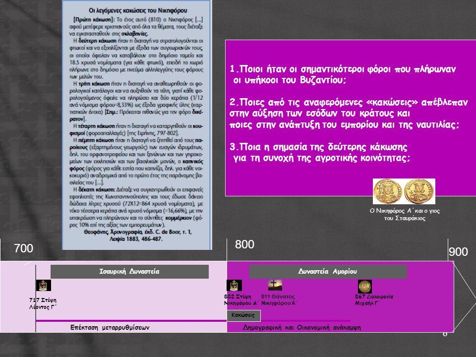 6 717 Στέψη Λέοντος Γ ΄ Ισαυρική ΔυναστείαΔυναστεία Αμορίου 802 Στέψη Νικηφόρου Α΄ Επέκταση μεταρρυθμίσεωνΔημογραφική και Οικονομική ανάκαμψη 811 Θάνα
