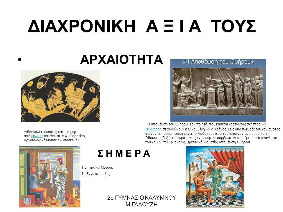 ΔΙΑΧΡΟΝΙΚΗ Α Ξ Ι Α ΤΟΥΣ ΑΡΧΑΙΟΤΗΤΑ H αποθέωση του Oμήρου: Tον ποιητή, που κάθεται κρατώντας σκήπτρο και κύλινδρο*, στεφανώνουν η Oικουμένη και ο Xρόνος.