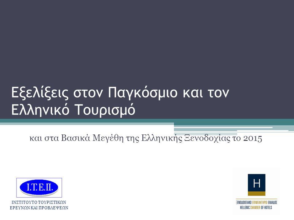 Εξελίξεις στον Παγκόσμιο και τον Ελληνικό Τουρισμό και στα Βασικά Μεγέθη της Ελληνικής Ξενοδοχίας το 2015 ΙΝΣΤΙΤΟΥΤΟ ΤΟΥΡΙΣΤΙΚΩΝ ΕΡΕΥΝΩΝ ΚΑΙ ΠΡΟΒΛΕΨΕΩΝ