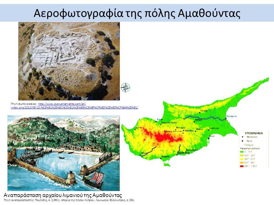 Αναπαράσταση αρχαίου λιμανιού της Αμαθούντας Πηγή αναπαράσταστης: Παυλίδης, Α.