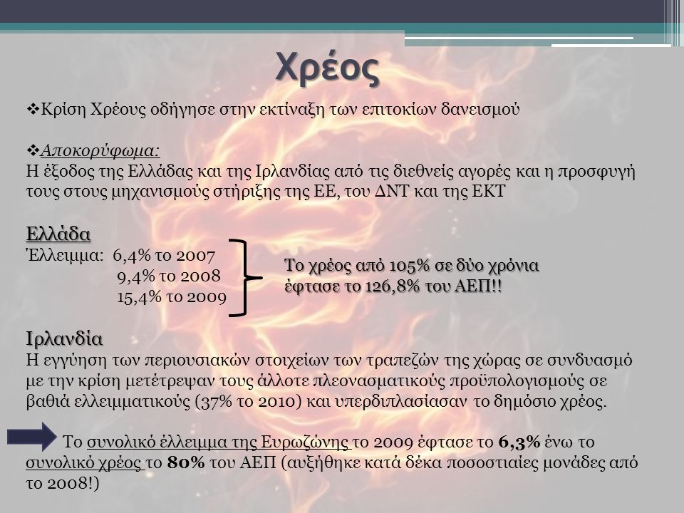  Κρίση Χρέους οδήγησε στην εκτίναξη των επιτοκίων δανεισμού  Αποκορύφωμα: Η έξοδος της Ελλάδας και της Ιρλανδίας από τις διεθνείς αγορές και η προσφυγή τους στους μηχανισμούς στήριξης της ΕΕ, του ΔΝΤ και της ΕΚΤΕλλάδα Έλλειμμα: 6,4% το 2007 9,4% το 2008 15,4% το 2009Ιρλανδία Η εγγύηση των περιουσιακών στοιχείων των τραπεζών της χώρας σε συνδυασμό με την κρίση μετέτρεψαν τους άλλοτε πλεονασματικούς προϋπολογισμούς σε βαθιά ελλειμματικούς (37% το 2010) και υπερδιπλασίασαν το δημόσιο χρέος.