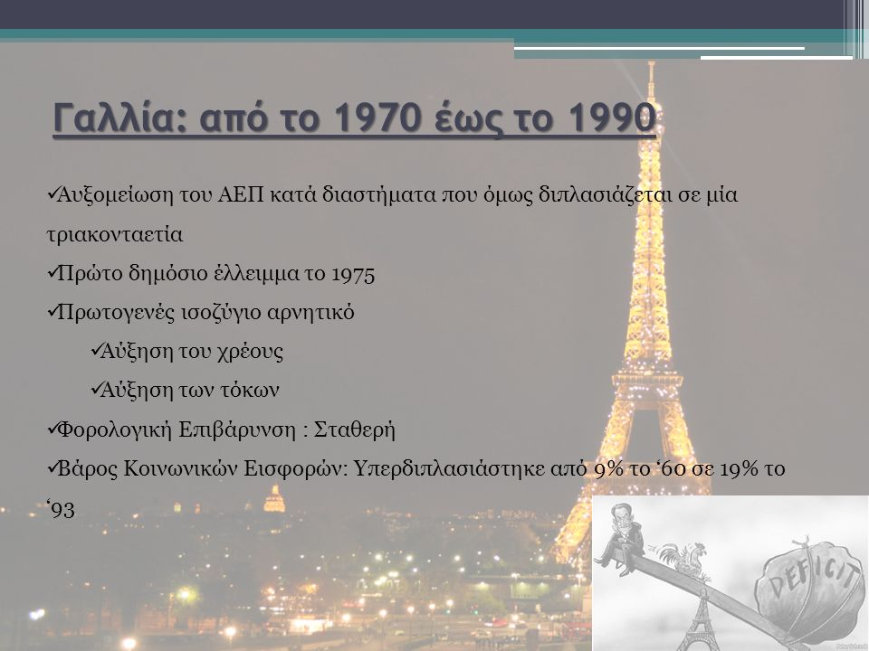 Γαλλία: από το 1970 έως το 1990 Αυξομείωση του ΑΕΠ κατά διαστήματα που όμως διπλασιάζεται σε μία τριακονταετία Πρώτο δημόσιο έλλειμμα το 1975 Πρωτογενές ισοζύγιο αρνητικό Αύξηση του χρέους Αύξηση των τόκων Φορολογική Επιβάρυνση : Σταθερή Βάρος Κοινωνικών Εισφορών: Υπερδιπλασιάστηκε από 9% το '60 σε 19% το '93