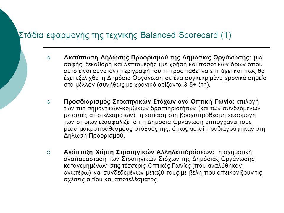 Στάδια εφαρμογής της τεχνικής Balanced Scorecard (1)  Διατύπωση Δήλωσης Προορισμού της Δημόσιας Οργάνωσης: μια σαφής, ξεκάθαρη και λεπτομερής (με χρή
