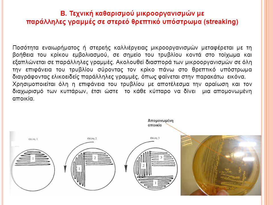 Β. Τεχνική καθαρισμού μικροοργανισμών με παράλληλες γραμμές σε στερεό θρεπτικό υπόστρωμα (streaking) Ποσότητα εναιωρήματος ή στερεής καλλιέργειας μικρ