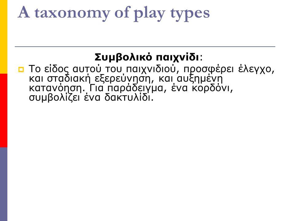 A taxonomy of play types Συμβολικό παιχνίδι:  Το είδος αυτού του παιχνιδιού, προσφέρει έλεγχο, και σταδιακή εξερεύνηση, και αυξημένη κατανόηση.
