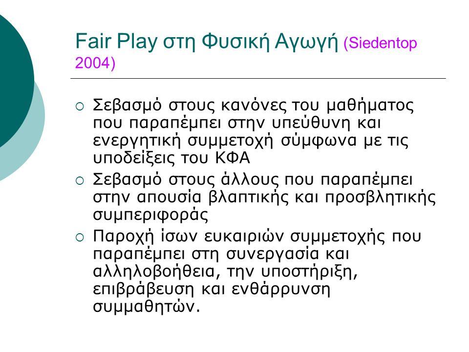 Fair Play στη Φυσική Αγωγή (Siedentop 2004)  Σεβασμό στους κανόνες του μαθήματος που παραπέμπει στην υπεύθυνη και ενεργητική συμμετοχή σύμφωνα με τις