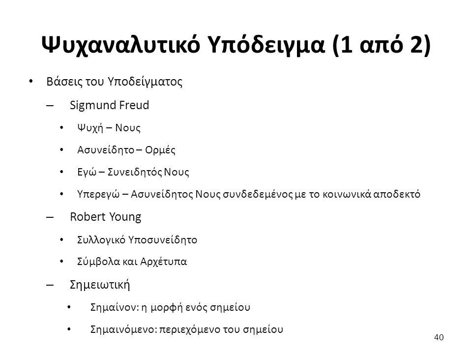 40 Βάσεις του Υποδείγματος – Sigmund Freud Ψυχή – Νους Ασυνείδητο – Ορμές Εγώ – Συνειδητός Νους Υπερεγώ – Ασυνείδητος Νους συνδεδεμένος με το κοινωνικά αποδεκτό – Robert Young Συλλογικό Υποσυνείδητο Σύμβολα και Αρχέτυπα – Σημειωτική Σημαίνον: η μορφή ενός σημείου Σημαινόμενο: περιεχόμενο του σημείου Ψυχαναλυτικό Υπόδειγμα (1 από 2)