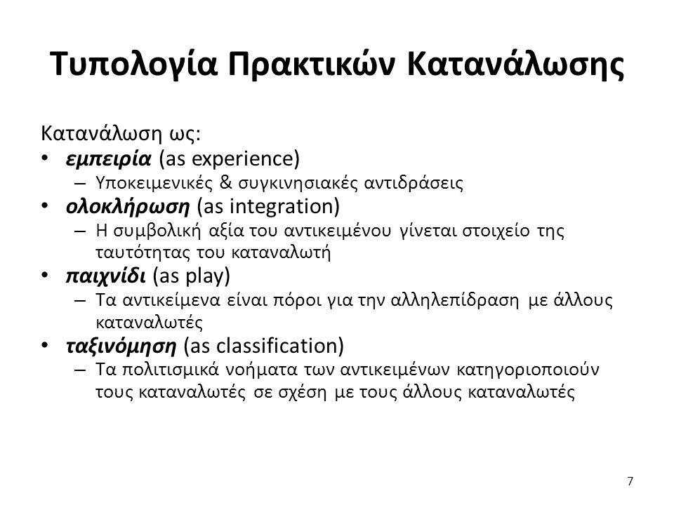 7 Κατανάλωση ως: εμπειρία (as experience) – Υποκειμενικές & συγκινησιακές αντιδράσεις ολοκλήρωση (as integration) – Η συμβολική αξία του αντικειμένου γίνεται στοιχείο της ταυτότητας του καταναλωτή παιχνίδι (as play) – Τα αντικείμενα είναι πόροι για την αλληλεπίδραση με άλλους καταναλωτές ταξινόμηση (as classification) – Τα πολιτισμικά νοήματα των αντικειμένων κατηγοριοποιούν τους καταναλωτές σε σχέση με τους άλλους καταναλωτές Τυπολογία Πρακτικών Κατανάλωσης