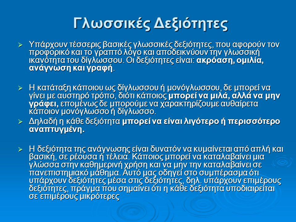 Γλωσσικές Δεξιότητες  Υπάρχουν τέσσερις βασικές γλωσσικές δεξιότητες, που αφορούν τον προφορικό και το γραπτό λόγο και αποδεικνύουν την γλωσσική ικανότητα του δίγλωσσου.