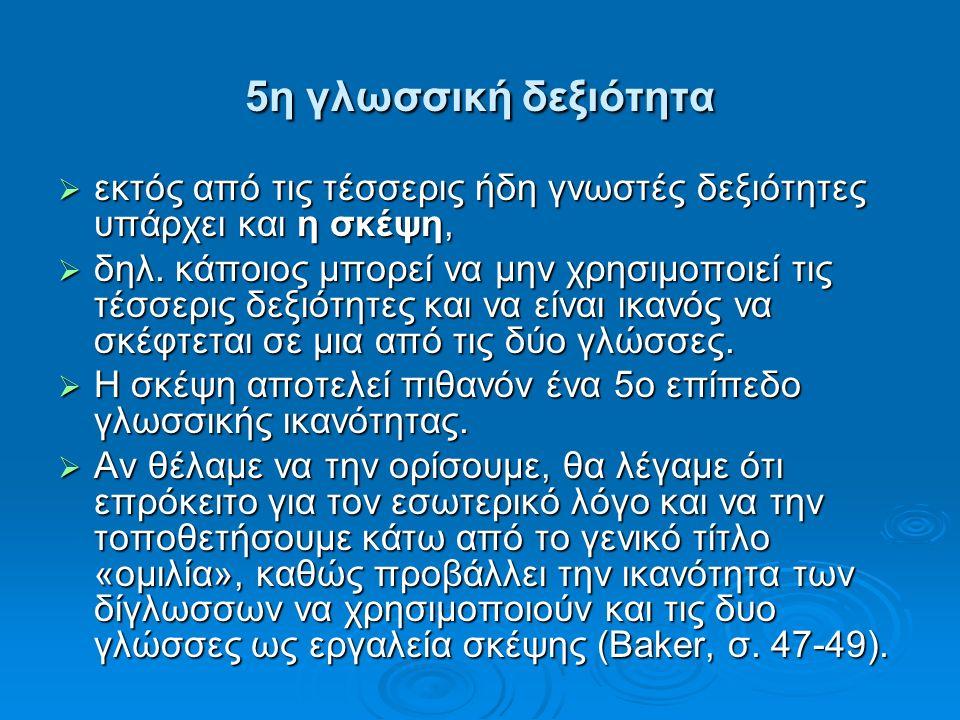 5η γλωσσική δεξιότητα  εκτός από τις τέσσερις ήδη γνωστές δεξιότητες υπάρχει και η σκέψη,  δηλ.