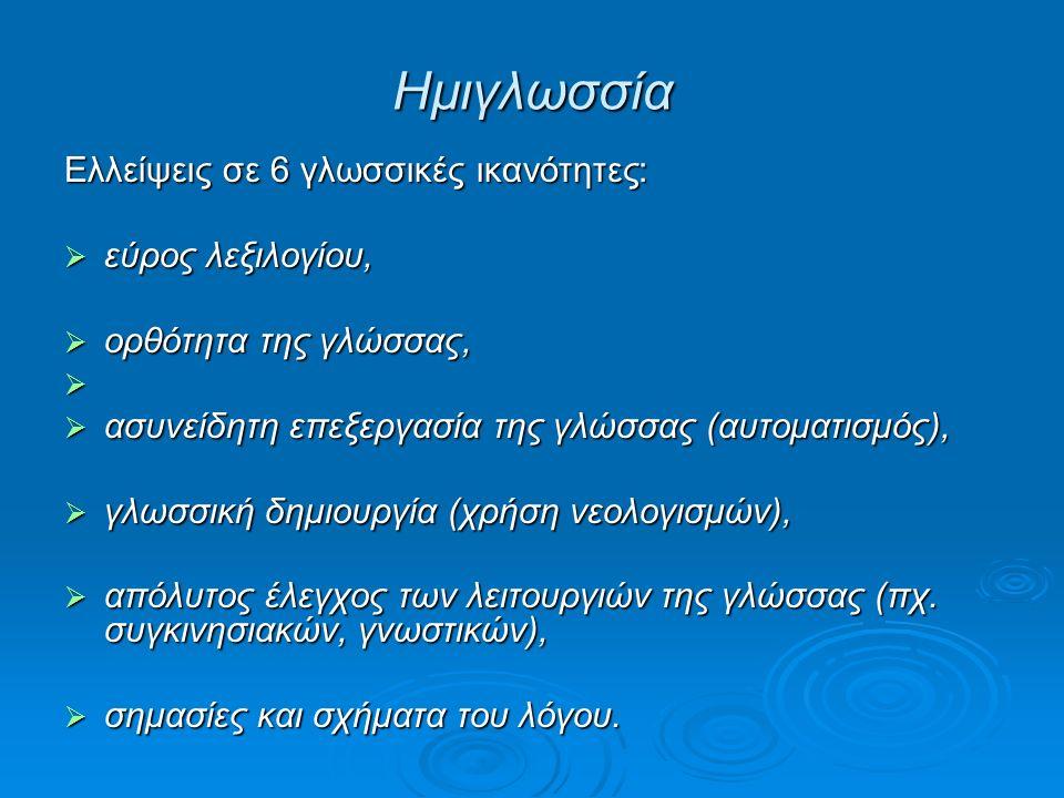 Ημιγλωσσία Ελλείψεις σε 6 γλωσσικές ικανότητες:  εύρος λεξιλογίου,  ορθότητα της γλώσσας,   ασυνείδητη επεξεργασία της γλώσσας (αυτοματισμός),  γλωσσική δημιουργία (χρήση νεολογισμών),  απόλυτος έλεγχος των λειτουργιών της γλώσσας (πχ.