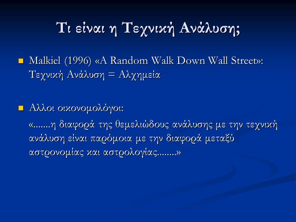 Τι είναι η Τεχνική Ανάλυση; Malkiel (1996) «A Random Walk Down Wall Street»: Τεχνική Ανάλυση = Αλχημεία Malkiel (1996) «A Random Walk Down Wall Street»: Τεχνική Ανάλυση = Αλχημεία Αλλοι οικονομολόγοι: Αλλοι οικονομολόγοι: «.......η διαφορά της θεμελιώδους ανάλυσης με την τεχνική ανάλυση είναι παρόμοια με την διαφορά μεταξύ αστρονομίας και αστρολογίας........»