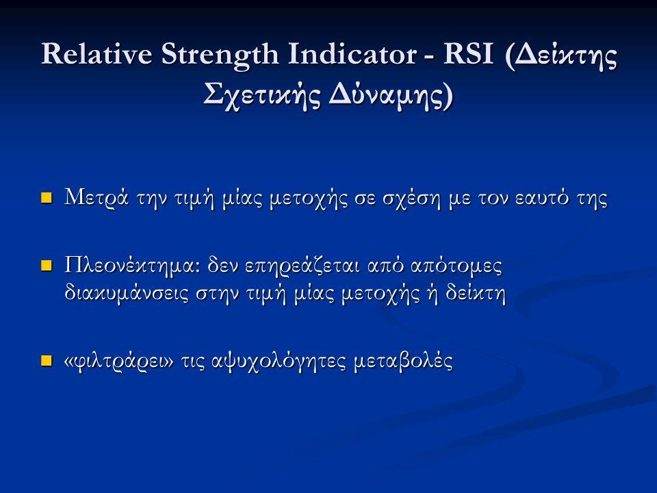 Relative Strength Indicator - RSI (Δείκτης Σχετικής Δύναμης) Μετρά την τιμή μίας μετοχής σε σχέση με τον εαυτό της Μετρά την τιμή μίας μετοχής σε σχέση με τον εαυτό της Πλεονέκτημα: δεν επηρεάζεται από απότομες διακυμάνσεις στην τιμή μίας μετοχής ή δείκτη Πλεονέκτημα: δεν επηρεάζεται από απότομες διακυμάνσεις στην τιμή μίας μετοχής ή δείκτη «φιλτράρει» τις αψυχολόγητες μεταβολές «φιλτράρει» τις αψυχολόγητες μεταβολές