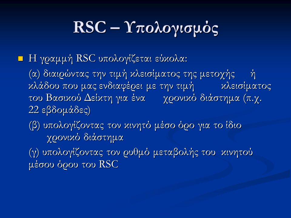 RSC – Υπολογισμός Η γραμμή RSC υπολογίζεται εύκολα: Η γραμμή RSC υπολογίζεται εύκολα: (α) διαιρώντας την τιμή κλεισίματος της μετοχής ή κλάδου που μας ενδιαφέρει με την τιμή κλεισίματος του Βασικού Δείκτη για ένα χρονικό διάστημα (π.χ.