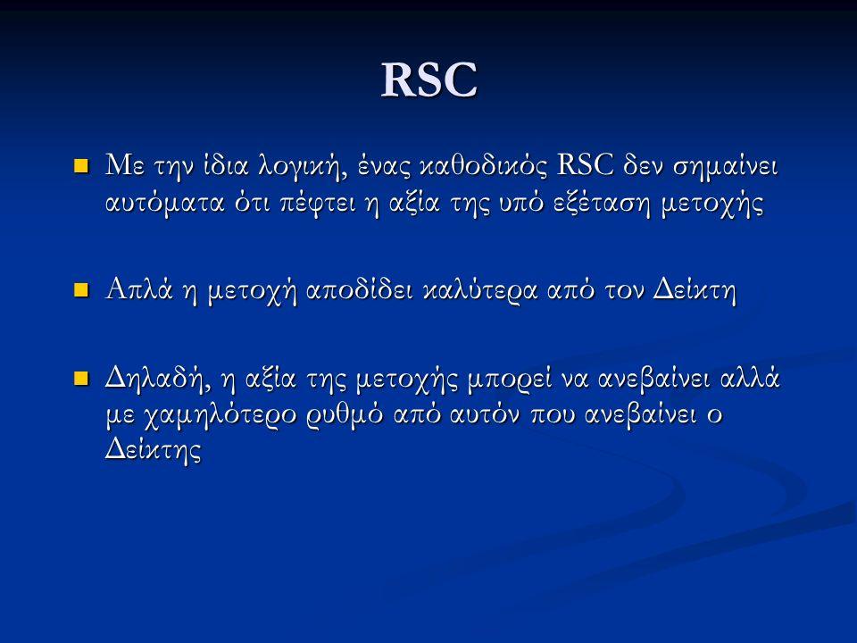 RSC Με την ίδια λογική, ένας καθοδικός RSC δεν σημαίνει αυτόματα ότι πέφτει η αξία της υπό εξέταση μετοχής Με την ίδια λογική, ένας καθοδικός RSC δεν σημαίνει αυτόματα ότι πέφτει η αξία της υπό εξέταση μετοχής Απλά η μετοχή αποδίδει καλύτερα από τον Δείκτη Απλά η μετοχή αποδίδει καλύτερα από τον Δείκτη Δηλαδή, η αξία της μετοχής μπορεί να ανεβαίνει αλλά με χαμηλότερο ρυθμό από αυτόν που ανεβαίνει ο Δείκτης Δηλαδή, η αξία της μετοχής μπορεί να ανεβαίνει αλλά με χαμηλότερο ρυθμό από αυτόν που ανεβαίνει ο Δείκτης