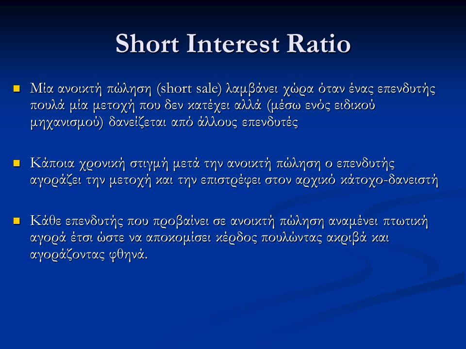Short Interest Ratio Μία ανοικτή πώληση (short sale) λαμβάνει χώρα όταν ένας επενδυτής πουλά μία μετοχή που δεν κατέχει αλλά (μέσω ενός ειδικού μηχανισμού) δανείζεται από άλλους επενδυτές Μία ανοικτή πώληση (short sale) λαμβάνει χώρα όταν ένας επενδυτής πουλά μία μετοχή που δεν κατέχει αλλά (μέσω ενός ειδικού μηχανισμού) δανείζεται από άλλους επενδυτές Κάποια χρονική στιγμή μετά την ανοικτή πώληση ο επενδυτής αγοράζει την μετοχή και την επιστρέφει στον αρχικό κάτοχο-δανειστή Κάποια χρονική στιγμή μετά την ανοικτή πώληση ο επενδυτής αγοράζει την μετοχή και την επιστρέφει στον αρχικό κάτοχο-δανειστή Κάθε επενδυτής που προβαίνει σε ανοικτή πώληση αναμένει πτωτική αγορά έτσι ώστε να αποκομίσει κέρδος πουλώντας ακριβά και αγοράζοντας φθηνά.