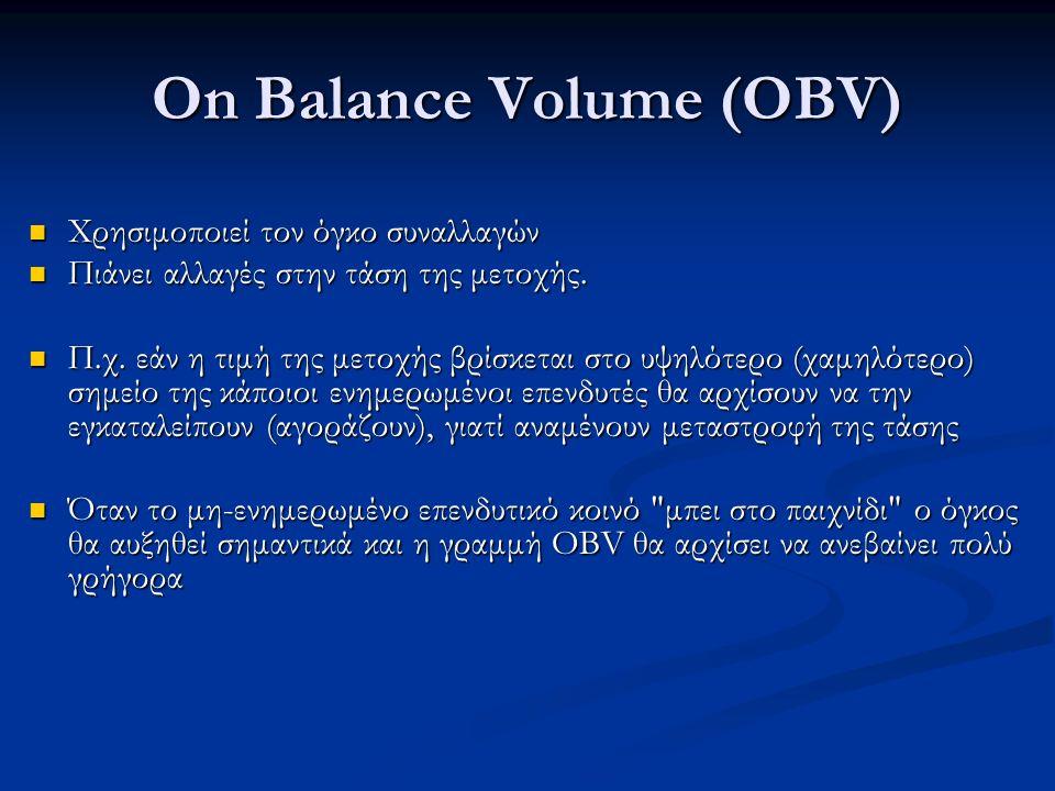 On Balance Volume (OBV) Χρησιμοποιεί τον όγκο συναλλαγών Χρησιμοποιεί τον όγκο συναλλαγών Πιάνει αλλαγές στην τάση της μετοχής.