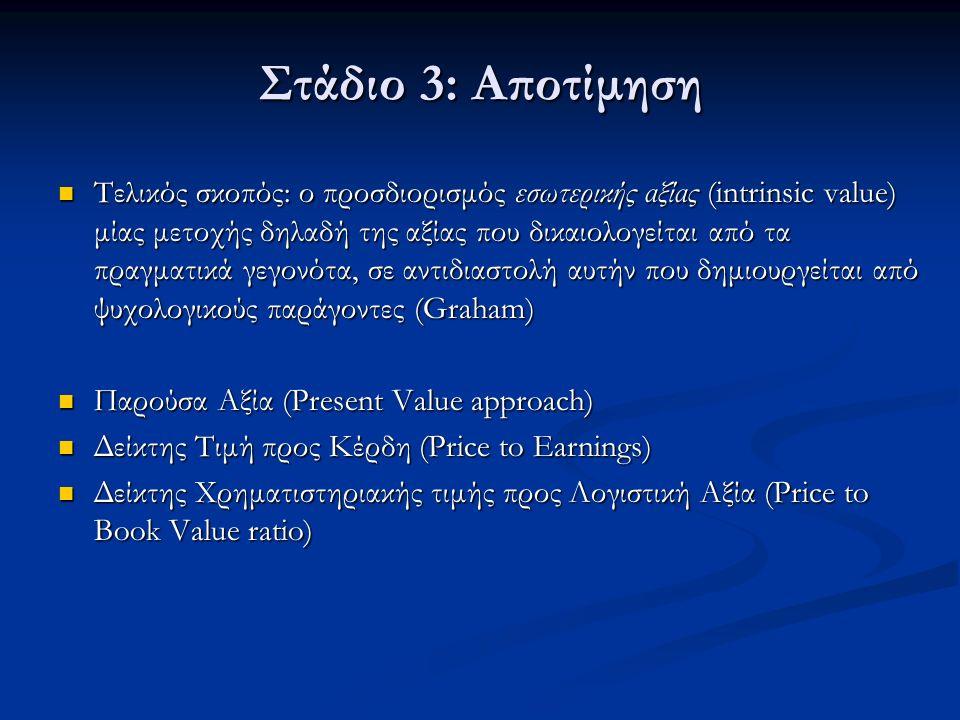Στάδιο 3: Αποτίμηση Τελικός σκοπός: ο προσδιορισμός εσωτερικής αξίας (intrinsic value) μίας μετοχής δηλαδή της αξίας που δικαιολογείται από τα πραγματικά γεγονότα, σε αντιδιαστολή αυτήν που δημιουργείται από ψυχολογικούς παράγοντες (Graham) Τελικός σκοπός: ο προσδιορισμός εσωτερικής αξίας (intrinsic value) μίας μετοχής δηλαδή της αξίας που δικαιολογείται από τα πραγματικά γεγονότα, σε αντιδιαστολή αυτήν που δημιουργείται από ψυχολογικούς παράγοντες (Graham) Παρούσα Αξία (Present Value approach) Παρούσα Αξία (Present Value approach) Δείκτης Τιμή προς Κέρδη (Price to Earnings) Δείκτης Τιμή προς Κέρδη (Price to Earnings) Δείκτης Χρηματιστηριακής τιμής προς Λογιστική Αξία (Price to Book Value ratio) Δείκτης Χρηματιστηριακής τιμής προς Λογιστική Αξία (Price to Book Value ratio)