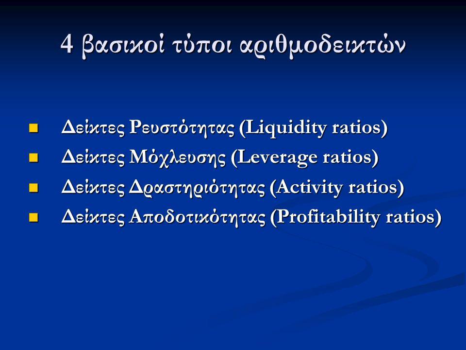 4 βασικοί τύποι αριθμοδεικτών Δείκτες Ρευστότητας (Liquidity ratios) Δείκτες Ρευστότητας (Liquidity ratios) Δείκτες Μόχλευσης (Leverage ratios) Δείκτες Μόχλευσης (Leverage ratios) Δείκτες Δραστηριότητας (Activity ratios) Δείκτες Δραστηριότητας (Activity ratios) Δείκτες Αποδοτικότητας (Profitability ratios) Δείκτες Αποδοτικότητας (Profitability ratios)
