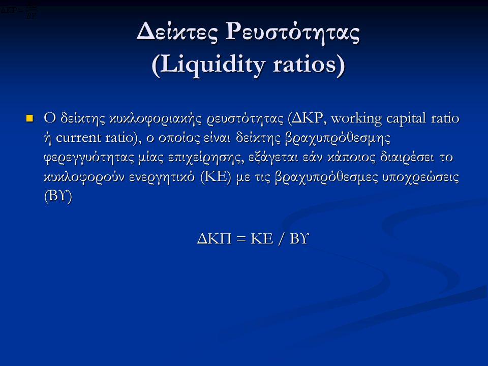 Δείκτες Ρευστότητας (Liquidity ratios) Ο δείκτης κυκλοφοριακής ρευστότητας (ΔΚΡ, working capital ratio ή current ratio), ο οποίος είναι δείκτης βραχυπρόθεσμης φερεγγυότητας μίας επιχείρησης, εξάγεται εάν κάποιος διαιρέσει το κυκλοφορούν ενεργητικό (ΚΕ) με τις βραχυπρόθεσμες υποχρεώσεις (ΒΥ) Ο δείκτης κυκλοφοριακής ρευστότητας (ΔΚΡ, working capital ratio ή current ratio), ο οποίος είναι δείκτης βραχυπρόθεσμης φερεγγυότητας μίας επιχείρησης, εξάγεται εάν κάποιος διαιρέσει το κυκλοφορούν ενεργητικό (ΚΕ) με τις βραχυπρόθεσμες υποχρεώσεις (ΒΥ) ΔΚΠ = ΚΕ / ΒΥ