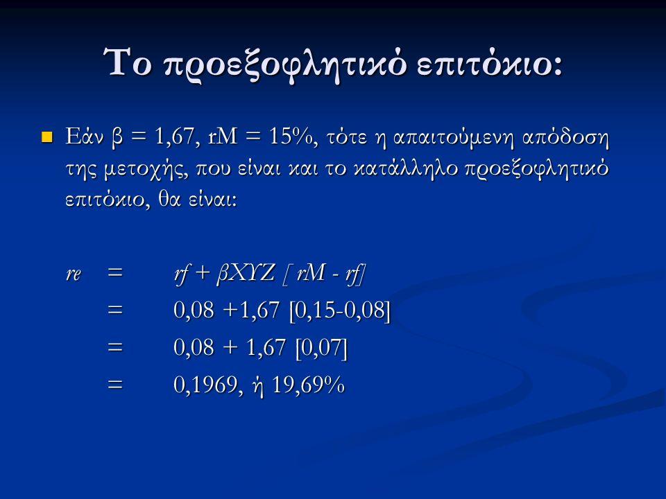 Το προεξοφλητικό επιτόκιο: Εάν β = 1,67, rM = 15%, τότε η απαιτούμενη απόδοση της μετοχής, που είναι και το κατάλληλο προεξοφλητικό επιτόκιο, θα είναι: Εάν β = 1,67, rM = 15%, τότε η απαιτούμενη απόδοση της μετοχής, που είναι και το κατάλληλο προεξοφλητικό επιτόκιο, θα είναι: re = rf + βΧΥΖ [ rM - rf] = 0,08 +1,67 [0,15-0,08] = 0,08 + 1,67 [0,07] =0,1969, ή 19,69%