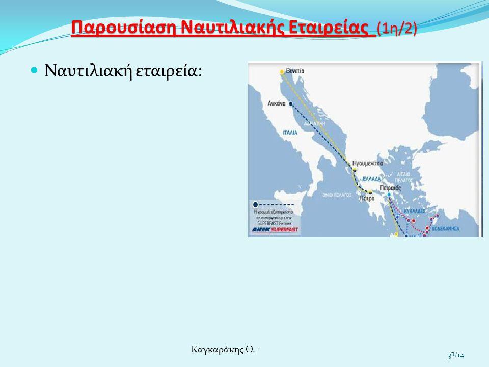 Παρουσίαση Ναυτιλιακής Εταιρείας (2η/2) Ναυτιλιακή εταιρεία: Καγκαράκης Θ. - 4 η /14