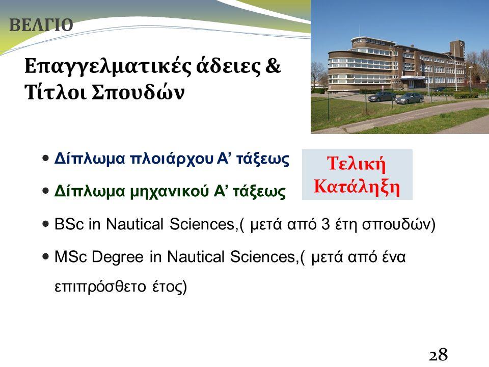 Δίπλωμα πλοιάρχου Α' τάξεως Δίπλωμα μηχανικού Α' τάξεως BSc in Nautical Sciences,( μετά από 3 έτη σπουδών) MSc Degree in Nautical Sciences,( μετά από ένα επιπρόσθετο έτος) 28 Επαγγελματικές άδειες & Τίτλοι Σπουδών ΒΕΛΓΙΟ Τελική Κατάληξη