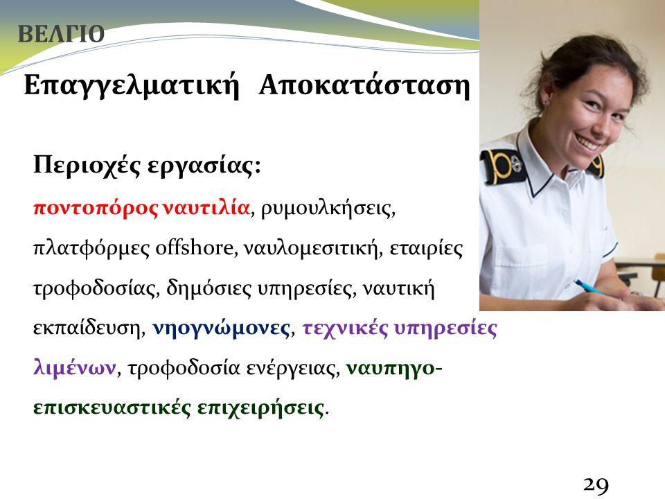 29 Επαγγελματική Αποκατάσταση Περιοχές εργασίας: ποντοπόρος ναυτιλία, ρυμουλκήσεις, πλατφόρμες offshore, ναυλομεσιτική, εταιρίες τροφοδοσίας, δημόσιες υπηρεσίες, ναυτική εκπαίδευση, νηογνώμονες, τεχνικές υπηρεσίες λιμένων, τροφοδοσία ενέργειας, ναυπηγο- επισκευαστικές επιχειρήσεις.