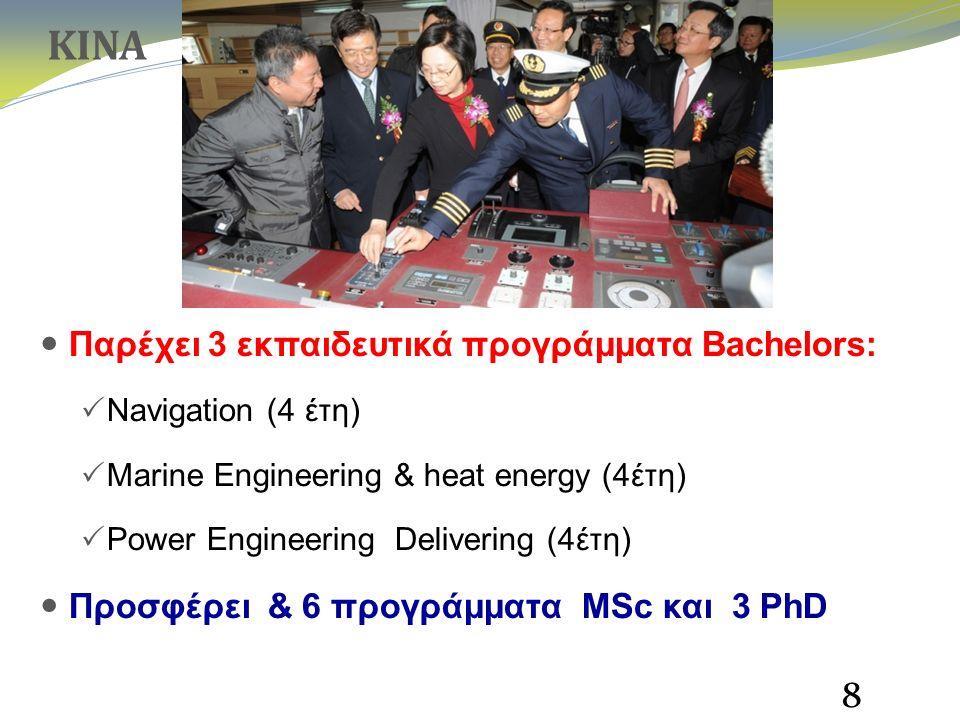 Παρέχει 3 εκπαιδευτικά προγράμματα Bachelors:  Navigation (4 έτη)  Marine Engineering & heat energy (4έτη)  Power Engineering Delivering (4έτη) Προσφέρει & 6 προγράμματα MSc και 3 PhD 8 ΚΙΝΑ
