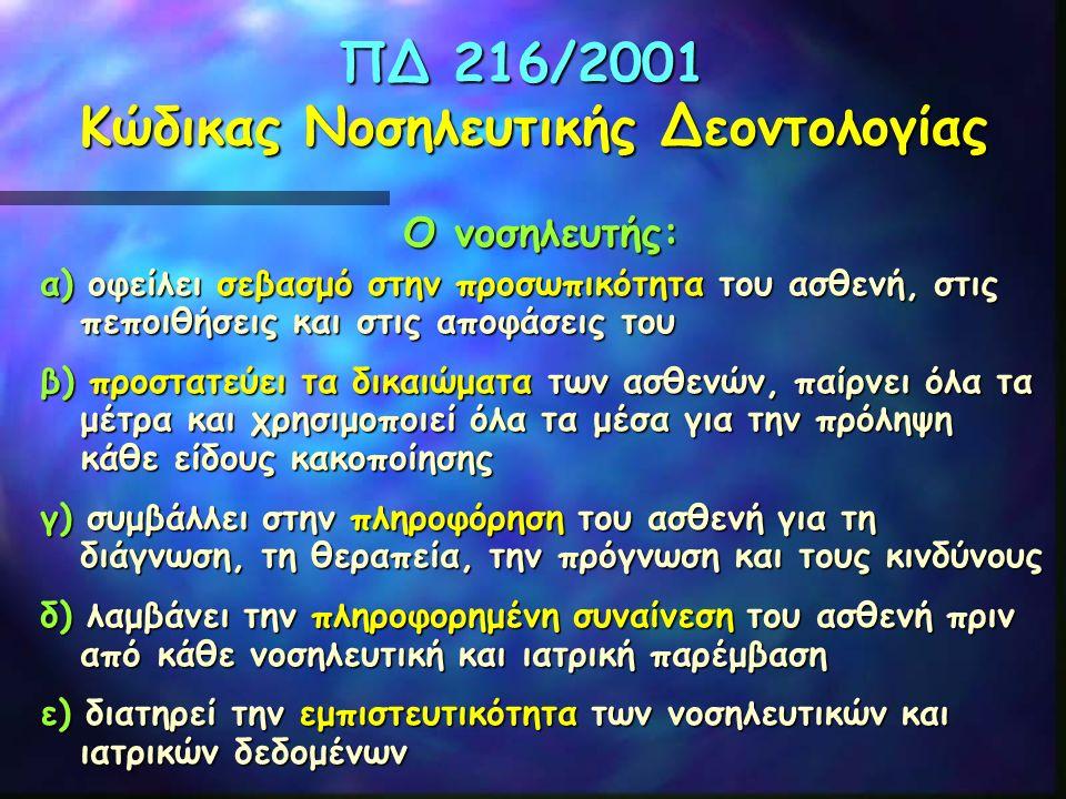 ΠΔ 216/2001 Κώδικας Νοσηλευτικής Δεοντολογίας Ο νοσηλευτής: α) οφείλει σεβασμό στην προσωπικότητα του ασθενή, στις πεποιθήσεις και στις αποφάσεις του