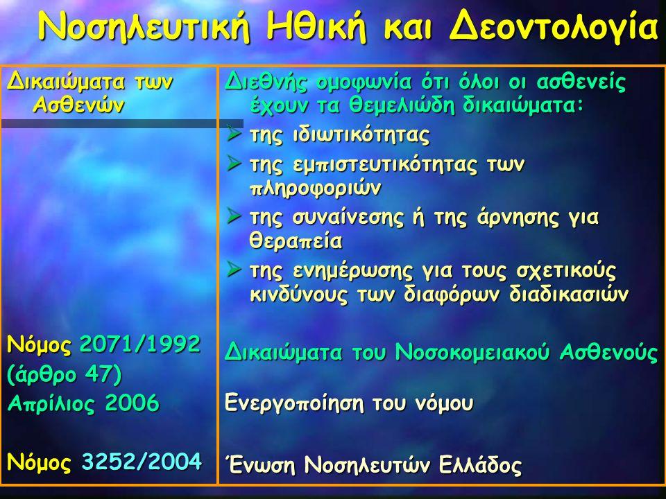Νοσηλευτική Ηθική και Δεοντολογία Δικαιώματα των Ασθενών Νόμος 2071/1992 (άρθρο 47) Απρίλιος 2006 Νόμος 3252/2004 Διεθνής ομοφωνία ότι όλοι οι ασθενεί