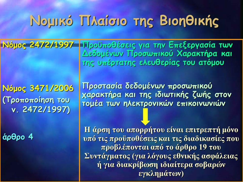 Νομικό Πλαίσιο της Βιοηθικής Νόμος 2472/1997 Νόμος 3471/2006 (Τροποποίηση του ν. 2472/1997) άρθρο 4 Προϋποθέσεις για την Επεξεργασία των Δεδομένων Προ