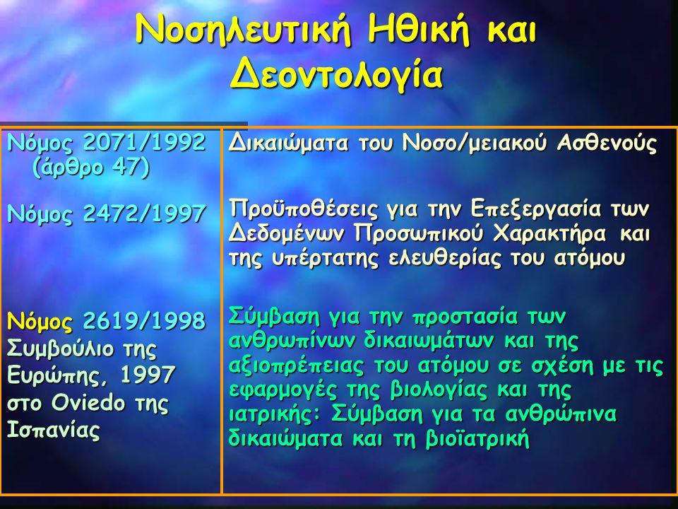 Νοσηλευτική Ηθική και Δεοντολογία Νόμος 2071/1992 (άρθρο 47) Νόμος 2472/1997 Νόμος 2619/1998 Συμβούλιο της Ευρώπης, 1997 στο Oviedo της Ισπανίας Δικαι