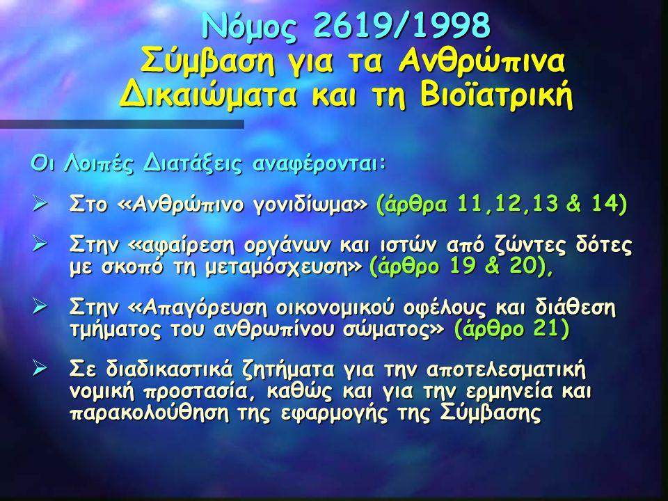 Νόμος 2619/1998 Σύμβαση για τα Ανθρώπινα Δικαιώματα και τη Βιοϊατρική Οι Λοιπές Διατάξεις αναφέρονται:  Στο «Ανθρώπινο γονιδίωμα» (άρθρα 11,12,13 & 1