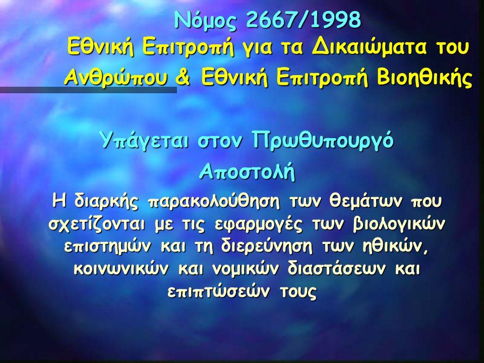 Νόμος 2667/1998 Εθνική Επιτροπή για τα Δικαιώματα του Ανθρώπου & Εθνική Επιτροπή Βιοηθικής Υπάγεται στον Πρωθυπουργό Αποστολή Η διαρκής παρακολούθηση