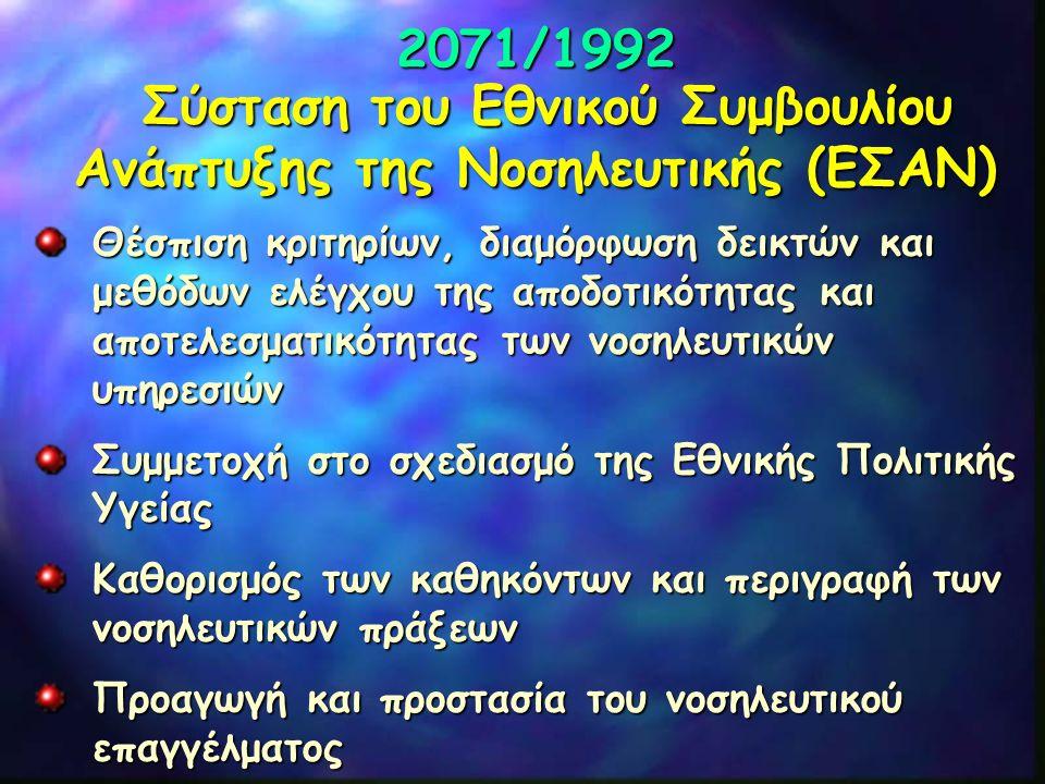 2071/1992 Σύσταση του Εθνικού Συμβουλίου Ανάπτυξης της Νοσηλευτικής (ΕΣΑΝ) Θέσπιση κριτηρίων, διαμόρφωση δεικτών και μεθόδων ελέγχου της αποδοτικότητα